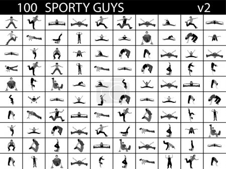 Different poses of sports men