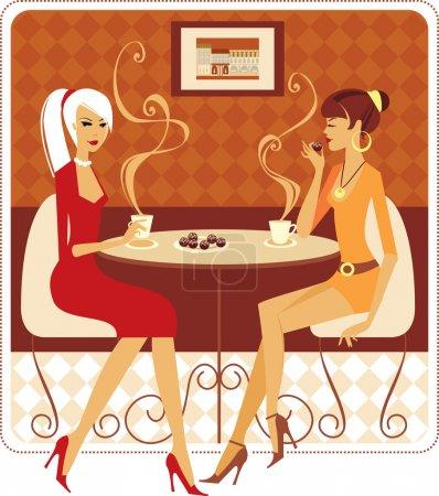 Illustration pour Deux jeunes femmes buvant du café dans un café confortable - image libre de droit