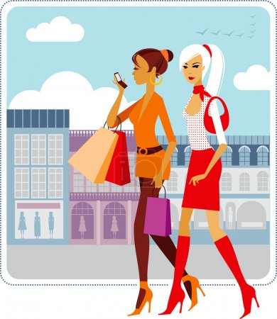 Illustration for Stylish ladies walking down the street - Royalty Free Image