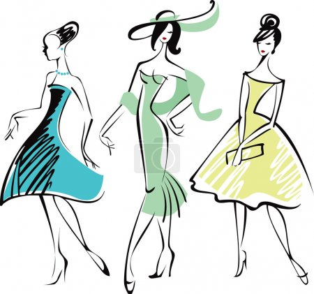 Illustration for Drawing of three fashionably dressed woman - Royalty Free Image