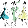 Drawing of three fashionably dressed woman...