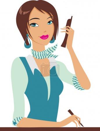 Illustration pour Fille avec le téléphone - image libre de droit