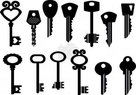 Illustration pour Ensemble de clés vectorielles - image libre de droit