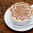 Coffee cappuccino with coffee beans...