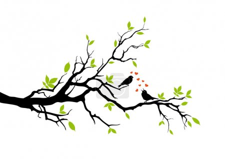 Illustration for Birds on tree branch, vector - Royalty Free Image