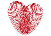 Red fingerprint heart vector