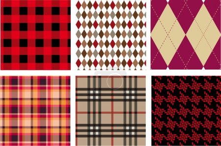 Illustration for Fashion fabrics, seamless patterns, vector - Royalty Free Image