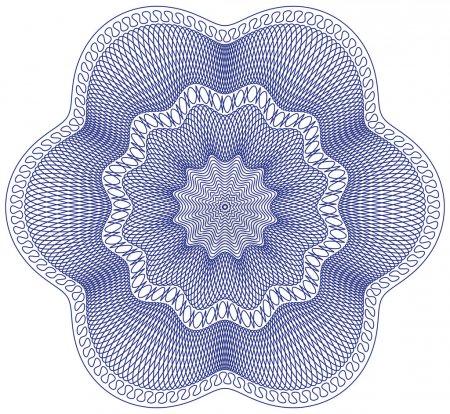 Illustration pour Rosette guillochée, motif vectoriel pour monnaie, certificat ou diplôme - image libre de droit