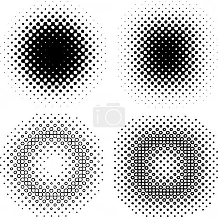 Illustration for Set of halftone grid elements, vector - Royalty Free Image