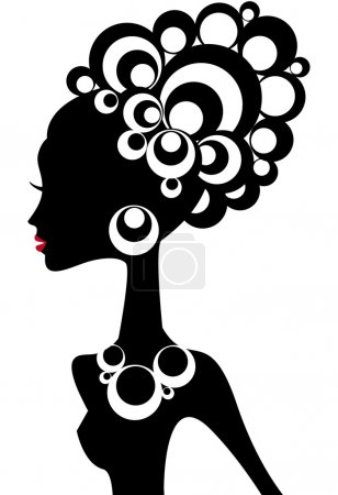 Illustration for Woman silhouette with black hair and jewels - Royalty Free Image