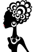 Woman silhouette with black hair and jewels