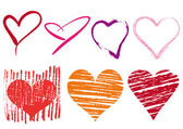 Scribble hearts set vector