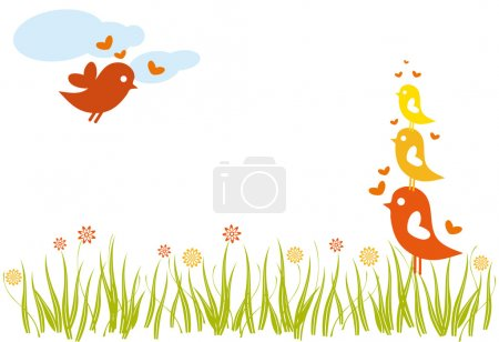Lovebird family in spring, vector...