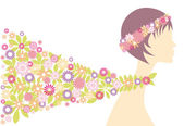 Spring girl with flowers vector background
