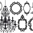 Antique picture frames and crystal chandelier silh...