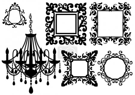 Illustration for Antique picture frames and crystal chandelier silhouette, vector - Royalty Free Image