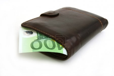 100 euro bill in leather brown purse