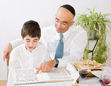 Father and son celebrating passover