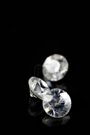 Photo for Three diamonds isolated on black background - Royalty Free Image