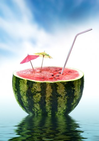 Photo for Watermelon on blue sky - Royalty Free Image