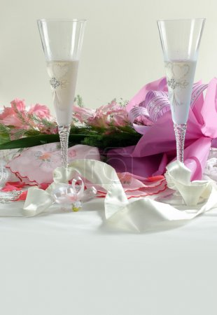 Wedding glasses and flowers