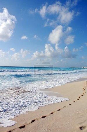 The beach by the Carribean sea in Cancun