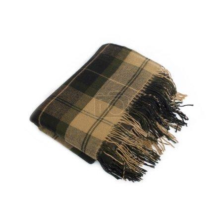 Photo pour Doux et chaud plaid en laine pliée avec frange, isolé - image libre de droit