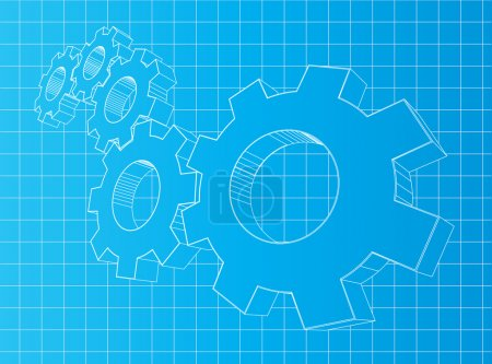 Illustration for Blueprint background with 3D gears. Solution, teamwork, technology. - Royalty Free Image