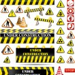 Big set of under construction and fire safety sign...