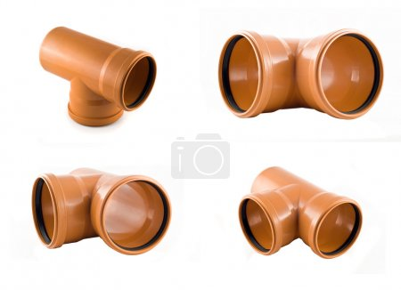 Collage of Plastic T-branch sewer pipes
