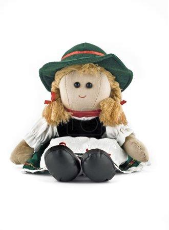 Photo pour Poupée Rag en costume national autrichien isolé sur blanc - image libre de droit