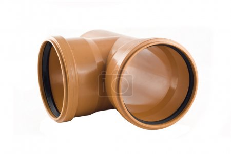 Plastic T-branch sewer tube isolated