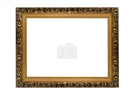 Photo for Horizontal golden Frame for picture or portrait isolated - Royalty Free Image