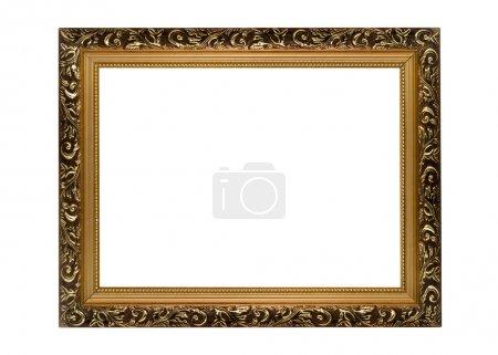 Foto de Marco dorado horizontal para fotografía o retrato aislado - Imagen libre de derechos