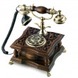 Antique telephone with modern buttons isolated...