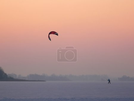 Kite skating at sunset
