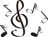 Musical notes a treble clef an illustration a vector figure