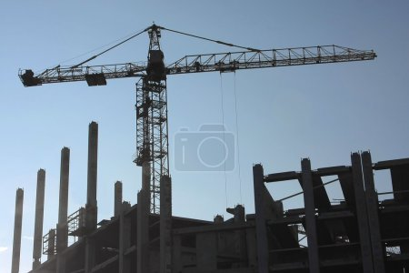 Silhouettes of elevating cranes
