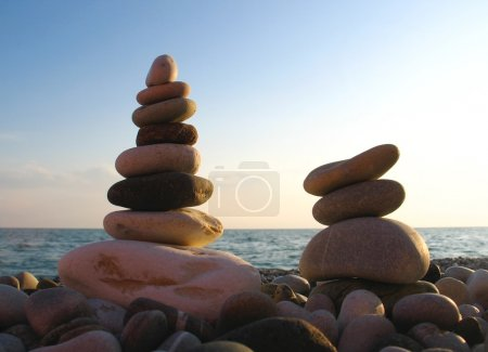 Photo for Sea pebble towers on seacoast - Royalty Free Image