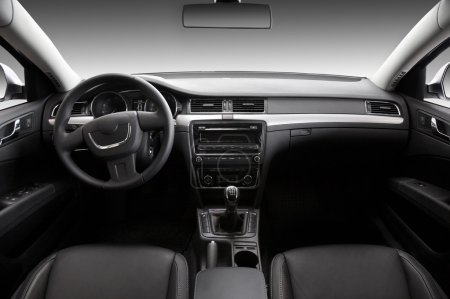Photo for View of the interior of a modern automobile showing the dashboard - Royalty Free Image