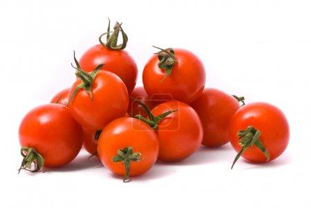 Cherry tomatoes on studio white