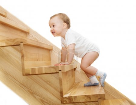 Photo for The joyful kid's going upstairs - Royalty Free Image