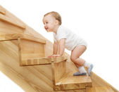 The joyful kids going upstairs