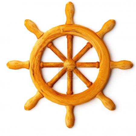 Photo pour 3D bois roue de gouvernail - image libre de droit