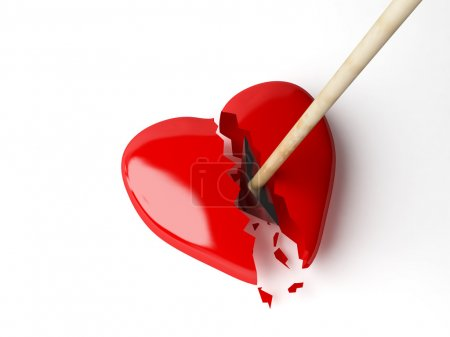 Photo for 3d broken heart isolated white - Royalty Free Image
