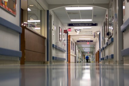 Photo for Hospital hallway in a large metropolitan hospital. - Royalty Free Image