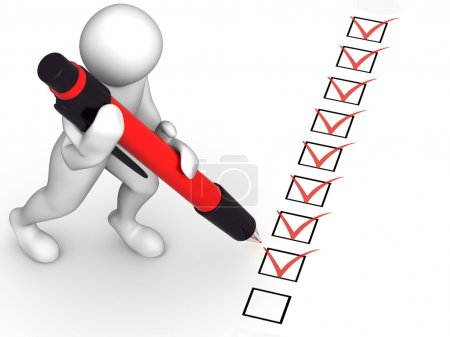 Photo for Man with pen and questionnaire. 3d - Royalty Free Image