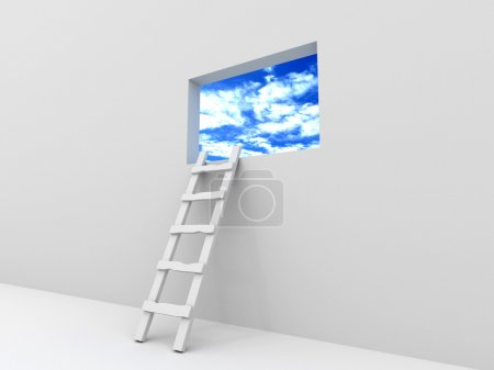 Photo for Staircase to the picture with the sky. 3d - Royalty Free Image
