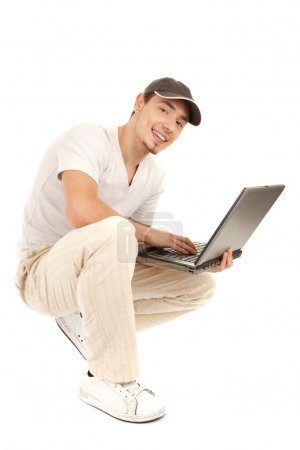 Hansome casual man with laptop