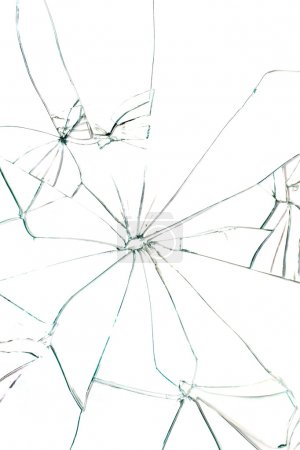 Photo for Broken glass with black cracks on white background - Royalty Free Image